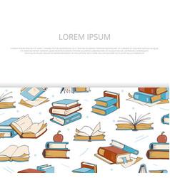 Bright books sketch banner design for shop vector