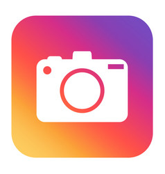 Camera icon on gradient background flat vector