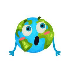 cute cartoon surprised earth planet emoji funny vector image