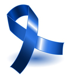 Dark blue awareness ribbon and shadow vector