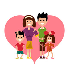 Family with heart symbol isolated on white vector