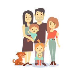flat family with pets isolated on white background vector image vector image