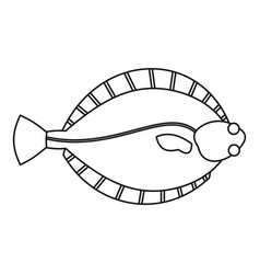 Flatfish icon outline style vector