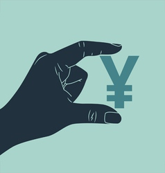 hand with yen vector image