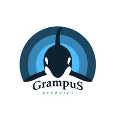 logo orca whale grampus predator vector image