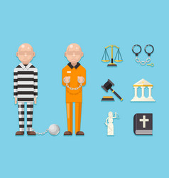 prisoner law justice characters icons symbols set vector image