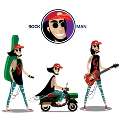 Rock man set vector image