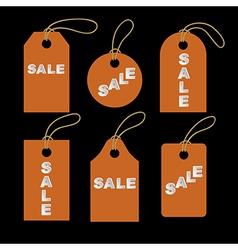 Set of orange tags vector