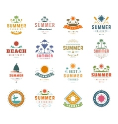 Summer Holidays Design Elements and Typography Set vector image vector image