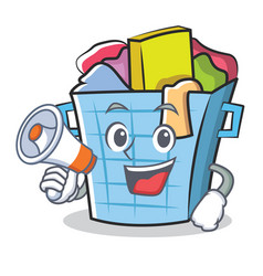 With megaphone laundry basket character cartoon vector