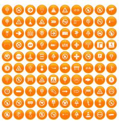 100 road signs icons set orange vector