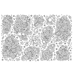 Doodle cartoon set of tea and coffe vector