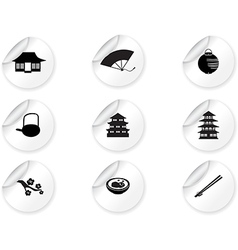 Stickers with japan icons vector