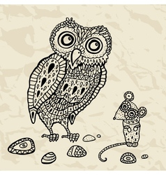 Decorative owl and mouse vector