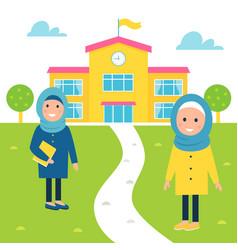 Muslim girls going to school vector