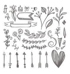 Hand drawn pattern on hearts bows arrows and vector