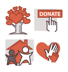 donation and volunteer work icons vector image
