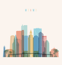 miami state florida skyline detailed silhouette vector image