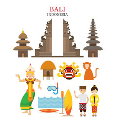 bali indonesia landmarks and culture object set vector image