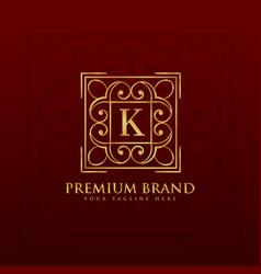 gold emblem monogram logo design for letter k vector image