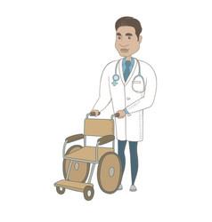 Young hispanic doctor pushing wheelchair vector