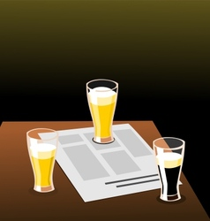 Three beers and newspaper on a table vector