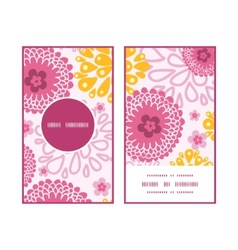 Pink field flowers vertical round frame pattern vector
