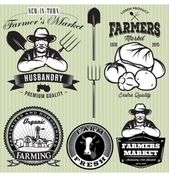 Set badges with the farmer and vegetables for the vector
