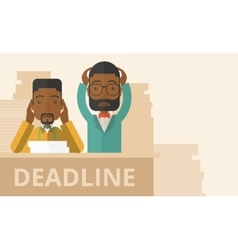 Two stressed african-american employees vector