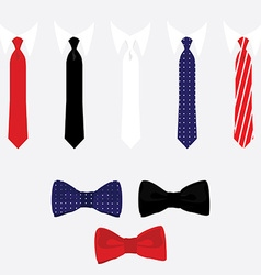Tie and bow tie set vector