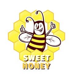Bee honey emblem vector