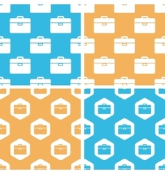 Briefcase pattern set colored vector