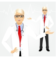 Male hipster doctor holding something vector