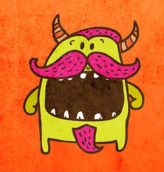 Monster with moustache cartoon vector