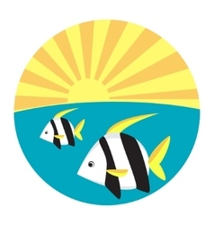 Tropical fish flat icon vector