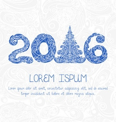 New year card with decorative figures 2016 vector