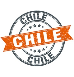 Chile red round grunge vintage ribbon stamp vector
