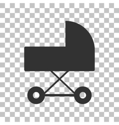 Pram sign  dark gray icon on vector