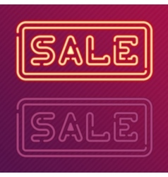 Sale glowing neon sign vector