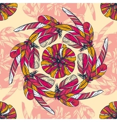 Seamless pattern in boho style round kaleidoscope vector