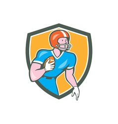 American football player rusher shield retro vector