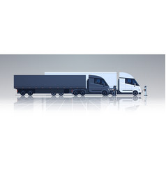 Big lorry semi truck trailers charging at electic vector