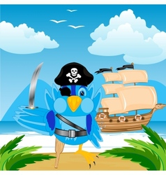 Bird pirate ashore tropical island vector image