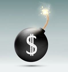 Bomb with a dollar sign and the burning wick vector image vector image