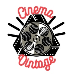 Color vintage cinema emblem vector image