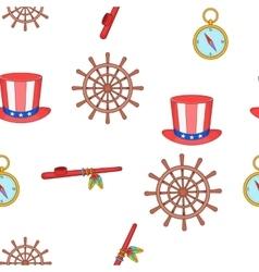Columbus day pattern cartoon style vector