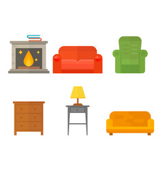 furniture home decor icon set indoor cabinet vector image vector image