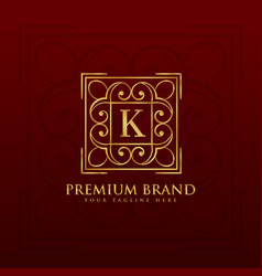 gold emblem monogram logo design for letter k vector image vector image