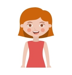 Half body cute girl with hair short vector