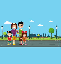 Happy family in city prk flat design vector